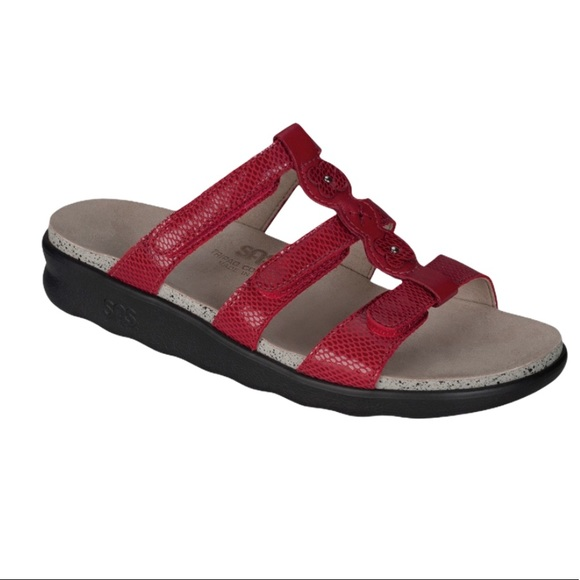 SAS Naples Red Snake Adjustable Comfort Sandal 8